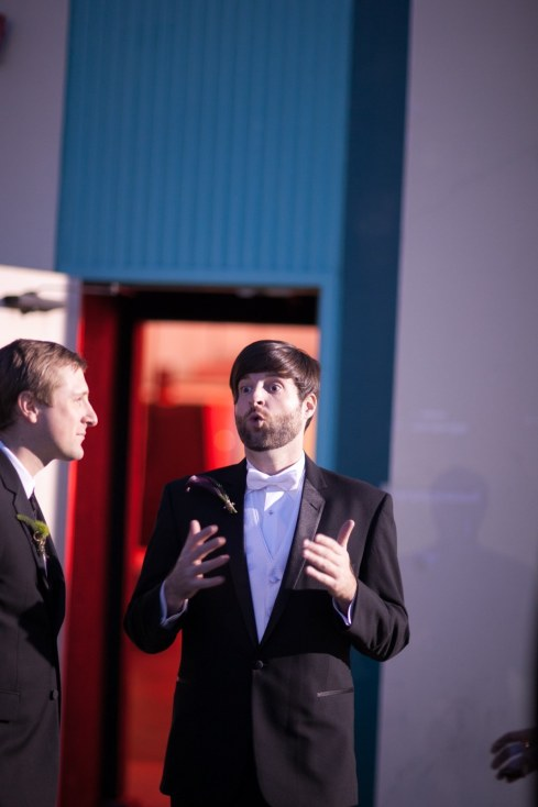 """Justin and Tim, screenwriting partners. About to receive the Four Palms award for """"Best Original Comedic Screenplay"""""""
