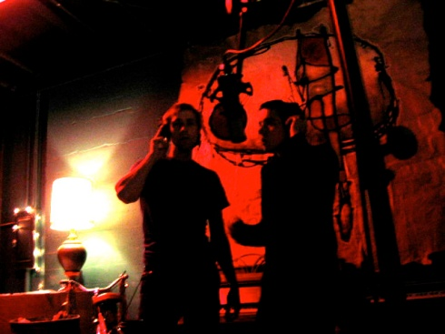 "Justin and Doug recording backing vocals at Pat Kearn's Portland, OR studio for the Revisions ""Revised Observations"" LP"