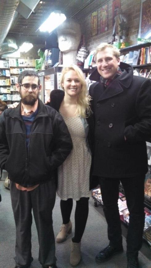 With writers Dave Roche and Cassandra Troyan after our reading at Quimby's Books, Chicago