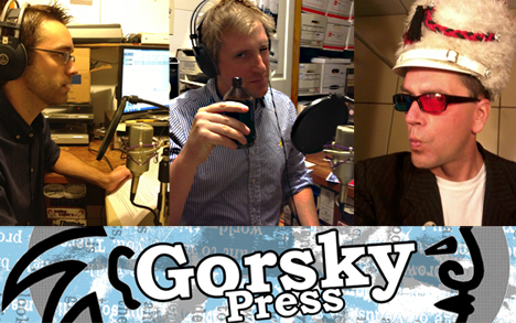 Gorsky Press Podcast flyer with writers Gabe Durham and Rev. Norb