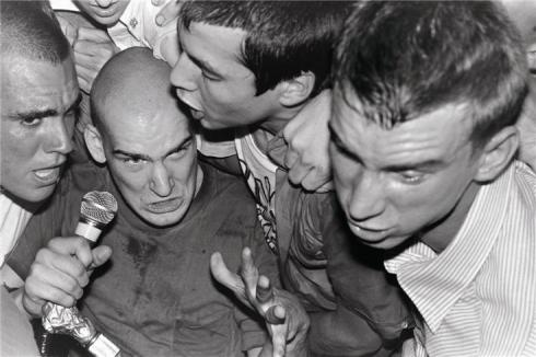 "Minor Threat, Torrance, CA 1982. © EDWARD COLVER, 1982 Ian MacKaye of Minor Threat, photographed at The Barn in Torrance, California, July 3, 1982. Also on the bill were Dead Kennedys, MDC, Zero Boys and The Detonators. This is one of two Colver photos selected for the Brooklyn Museum's ""Who Shot Rock"" exhibit."