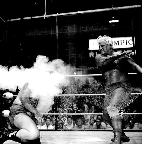 "Freddie Blassie ""Dust Cloud"" by Theo Ehret. Olympic Auditorium 1974"