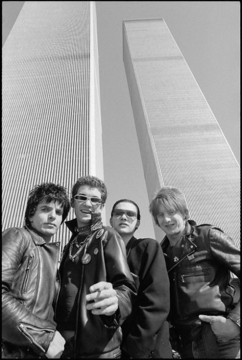 The Damned, the first UK punk band to hit US shores in 1977 on tour. New York City at Twin Towers.