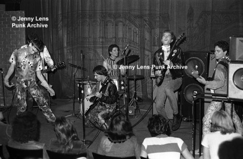 "Photo by Jenny Lens Capt Sensible of the Damned jamming with the Weirdos, playing ""Pushin' Too Hard"" by The Seeds, a 60s LA band who influenced punk. The Orpheum, April 16, 1977."