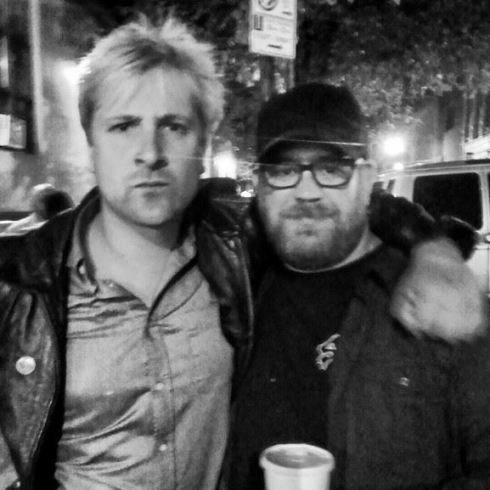 Writer Sean Doyle and I outside of our reading in NYC.