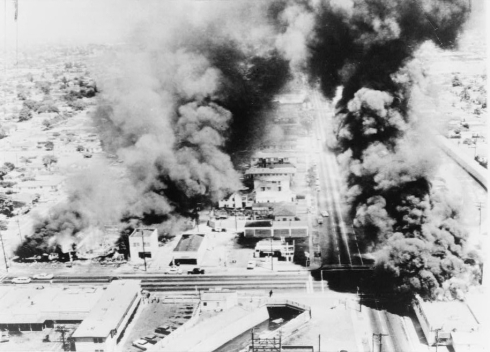Watts riots, South Central Los Angeles, 1965. Over 100 square blocks torched.