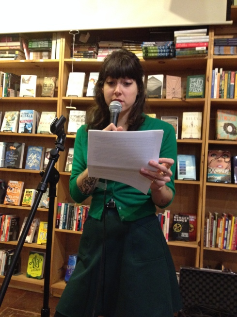 Cassie J. Sneider reading with me at Bluestockings Books in the Lower East Side
