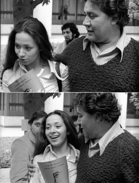 Acosta and a female fan at the 1973 Festival de Flor y Canto, USC, Los Angeles.  Photo Credit: Michael V. Sedano.Copyright 1973, 2008. Acknowledgement to La Bloga for their great piece on Acosta in 2008
