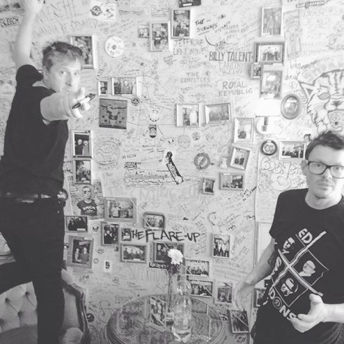 Justin and Chris signing the wall at the Ramones Museum in Berlin